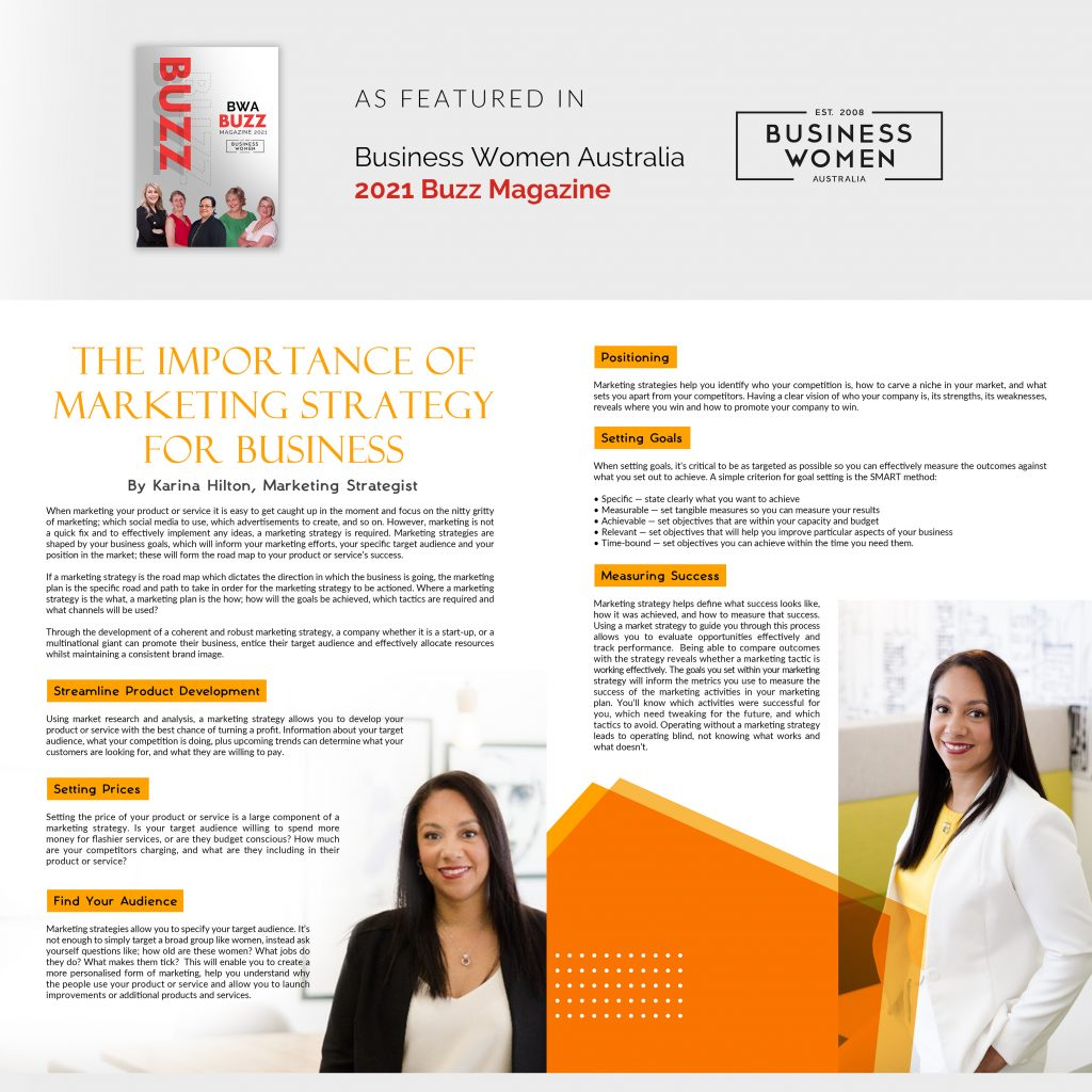 Karina Hilton appears on two pages with an article about Marketing Strategy
