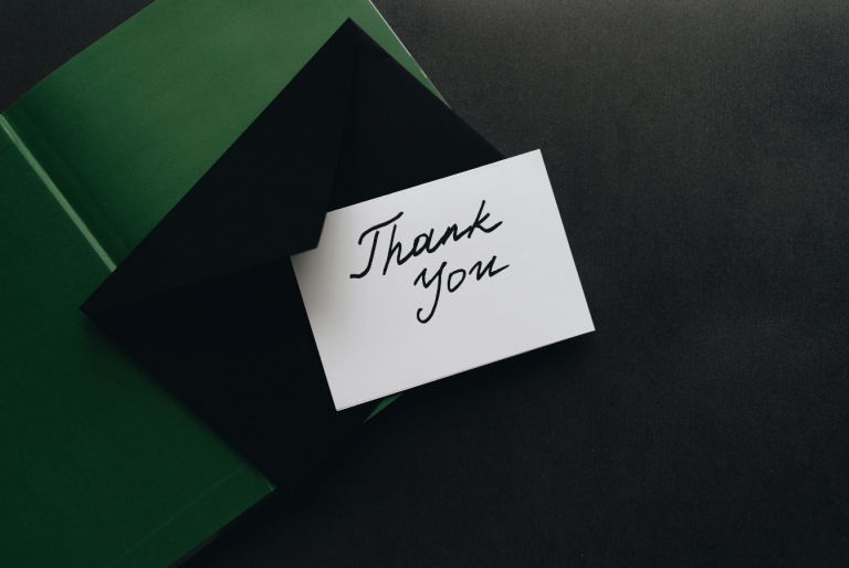 A present box with a thank you note
